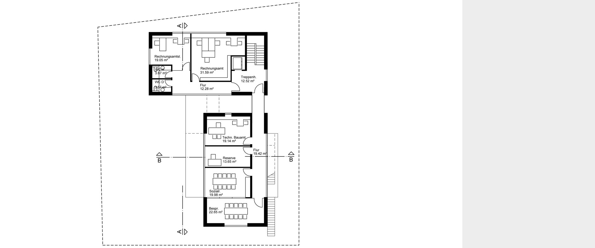 Architekturbüro musahl Waldshut Rathaus Dogern Grundriss OG 1